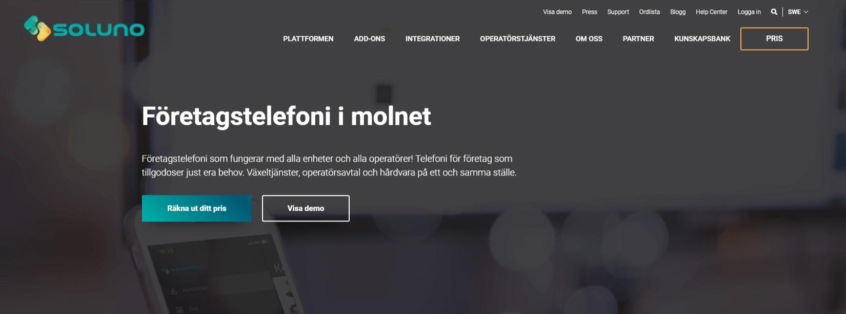 Soluno-telefonileverantör-homepage