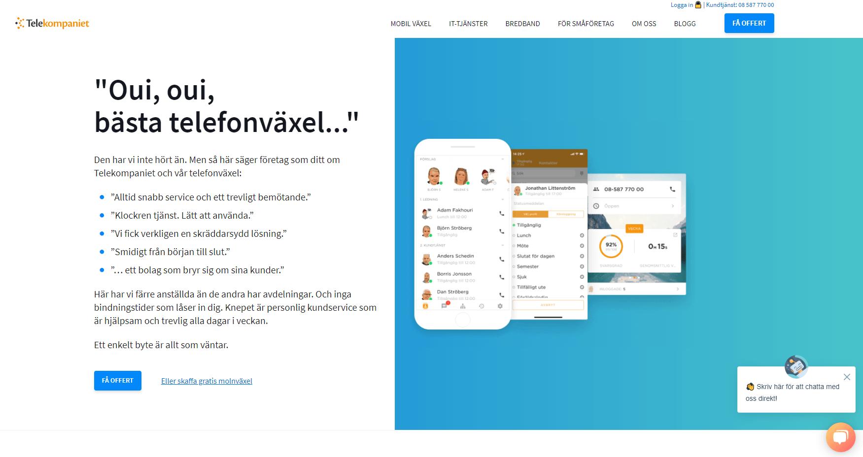 Telekompaniet-telefonileverantör-homepage