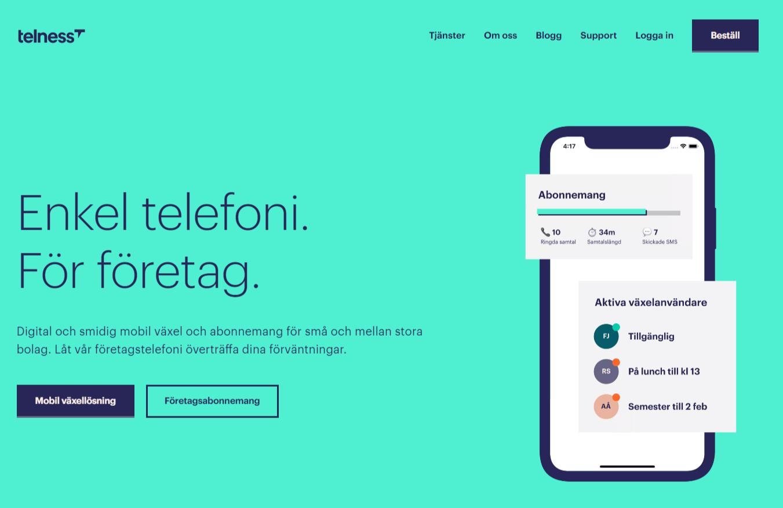 Telness-telefonileverantör-homepage