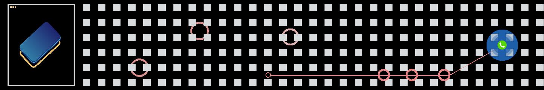 Illustration av modern telefoni för företag med ringar och fyrkanter som bakgrundsmönster.