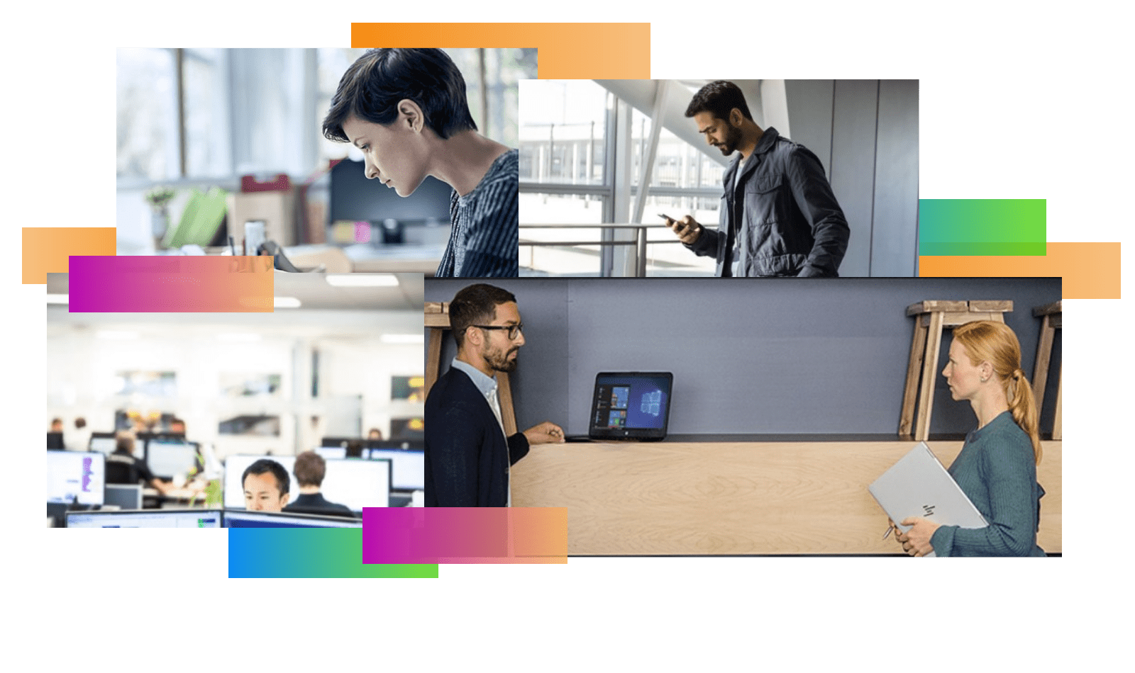 People working and using Microsoft 365